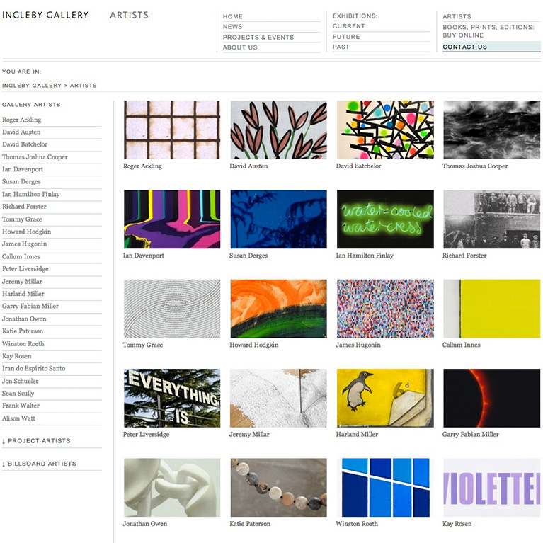 Ingleby Gallery - Artists Page