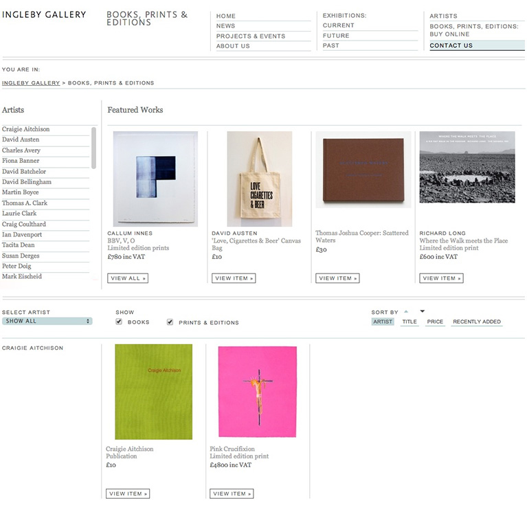 Ingleby Gallery - Books, Prints & Editions Page