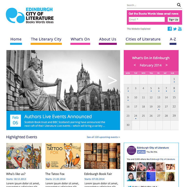 Edinburgh City of Literature - Home Page Design
