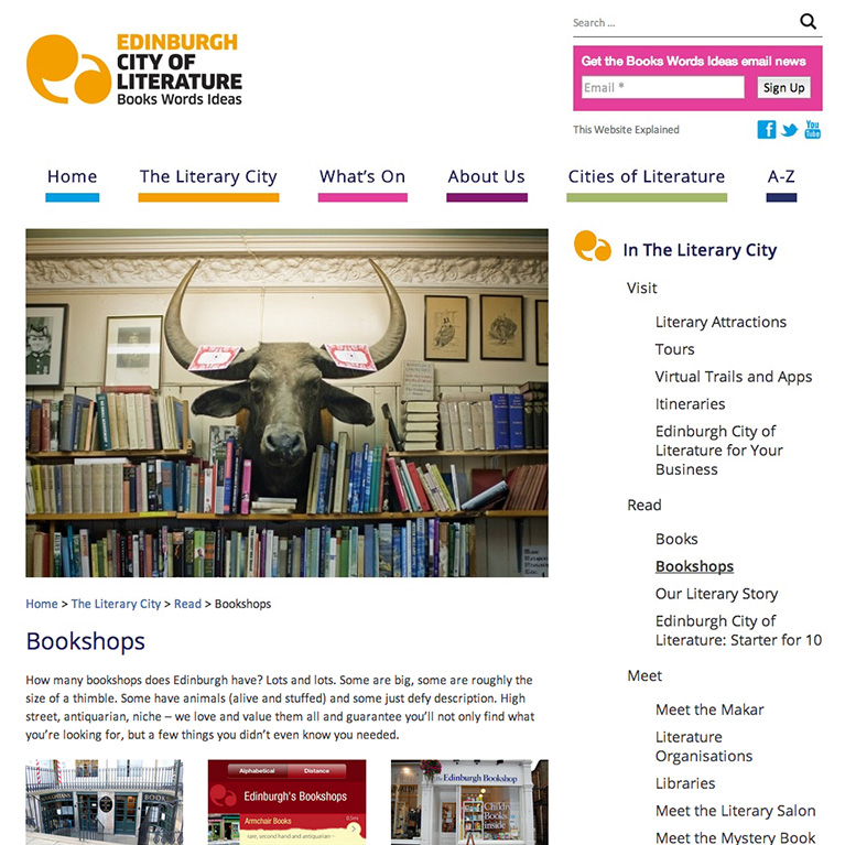 Edinburgh City of Literature - Sub-Section Page