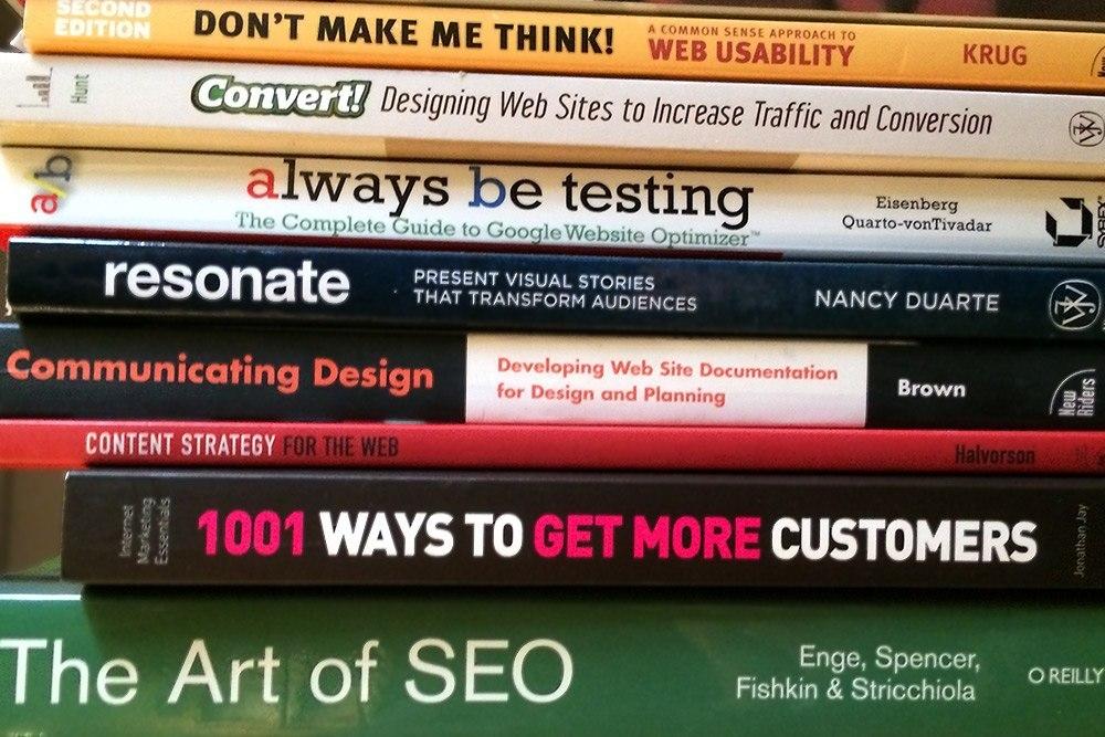 The bookshelf of a web designer